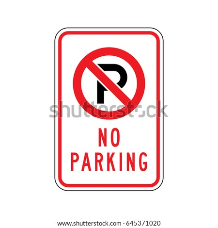 Vector No Parking sign. Rectangle.