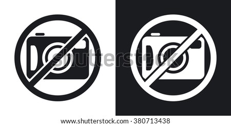 Vector no photography sign. Two-tone version on black and white background - stock vector
