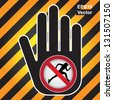 Vector : No Running Prohibited Sign Present By Hand With No Running Sign Inside in Caution Zone Dark and Yellow Background - stock vector