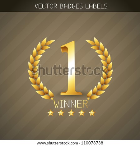 vector no 1 winner golden label - stock vector