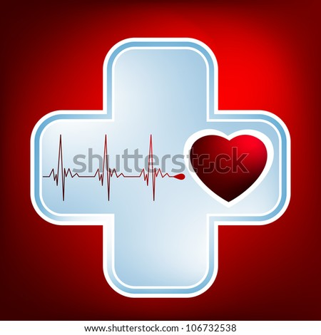 Vector normal ecg red background, heartbeat. Great for scientific, medical purposes. EPS 8 vector file included - stock vector
