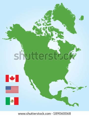Vector North American Map and Flag Set