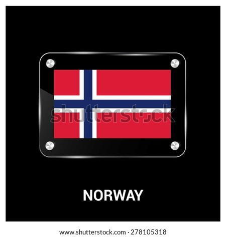 Vector Norway Flag glass plate with metal holders - Country name label in bottom