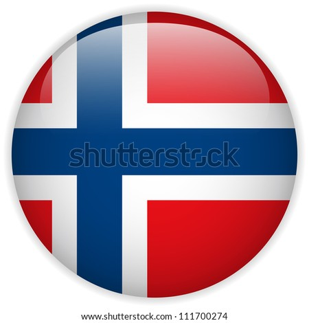 Vector - Norway Flag Glossy Button - stock vector