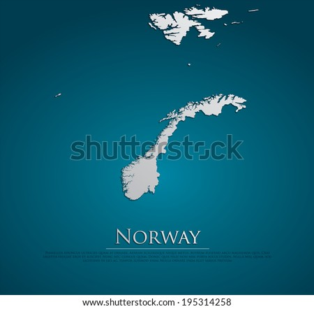 vector Norway Map card paper on blue background, high detailed - stock vector