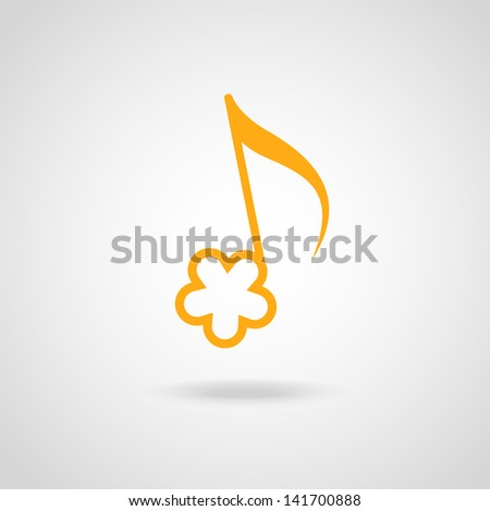 Vector note in shape of yellow flower. Simple original music cute icon with concept of summery merry melody and easy listening. Musical abstract stylized decorative sign for print, web - stock vector