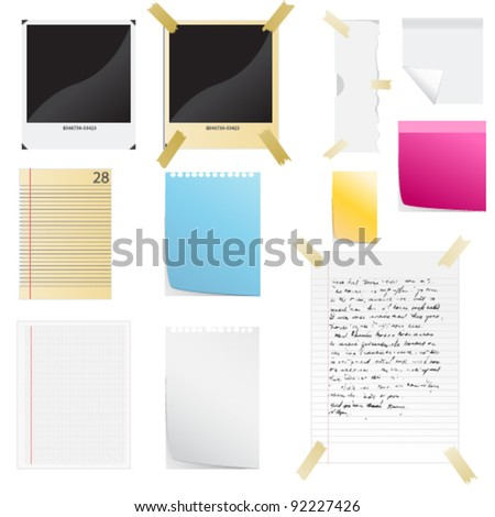 Vector Note Paper and Pen - stock vector