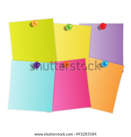 Vector Note Paper. colorful set