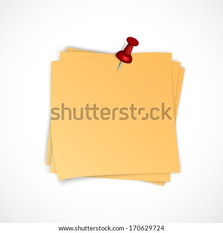 Vector note paper stack with pin on white background - stock vector