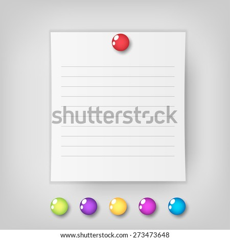 Vector note Paper with pin  - stock vector