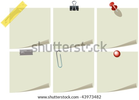 Vector Note Paper With Pins And Clips - stock vector