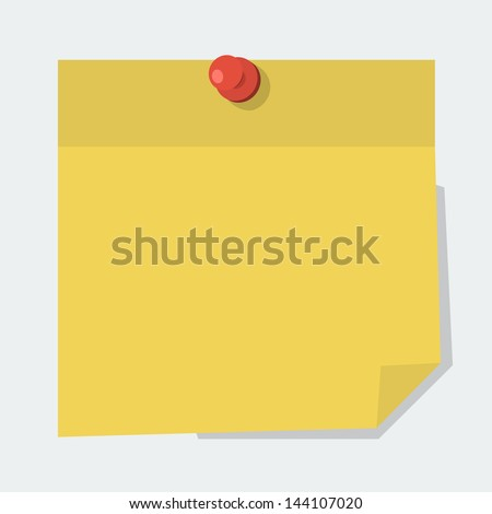 Vector note paper with red pin  in 'flat' style - stock vector