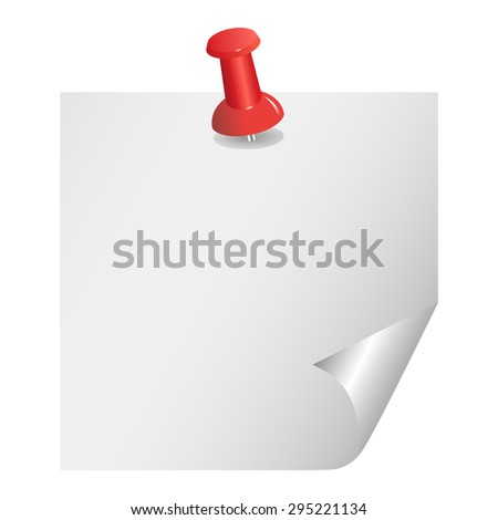 Vector note paper with red pin on white background. - stock vector