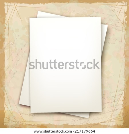 Vector note sheets of paper on vintage background with grunge calligraphic text in retro style - stock vector