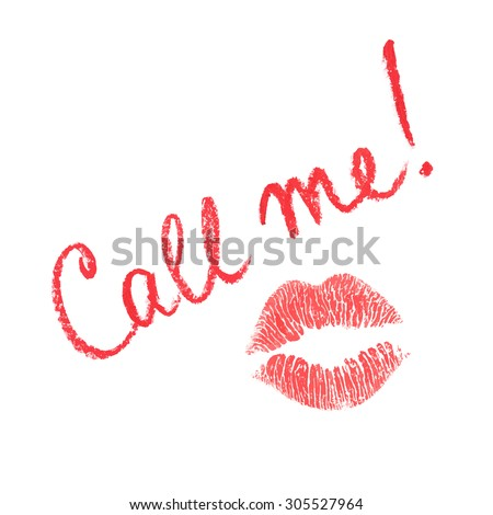 Vector note written in lipstick and lips print - stock vector