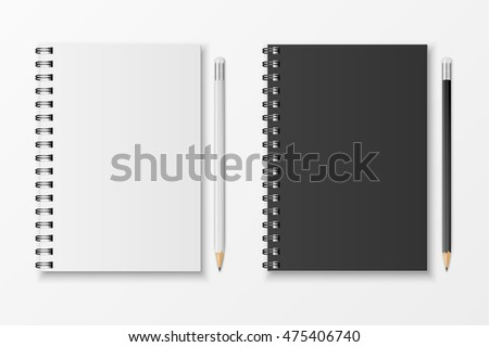 Vector notebook and pencil