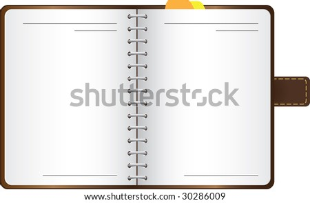 Vector notebook in a leather cover with bookmarks - stock vector