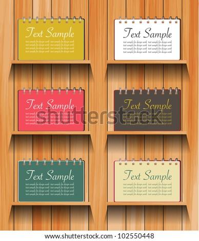 Vector Notebook on wooden shelves background - stock vector