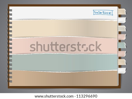 Vector notebook paper ripped design, ( Tear paper, Ripped paper) - stock vector
