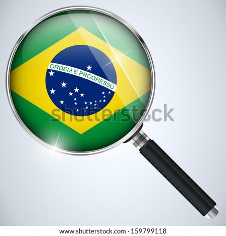 Vector - NSA USA Government Spy Program Country Brazil - stock vector