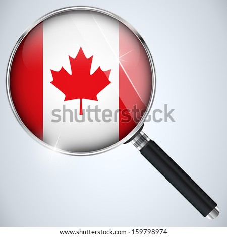 Vector - NSA USA Government Spy Program Country Canada - stock vector