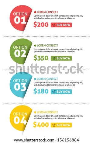 Vector Number Options Banner with Buy Button - stock vector