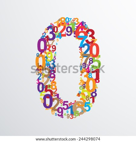 Vector number zero from numbers. Eps 10 illustration. - stock vector