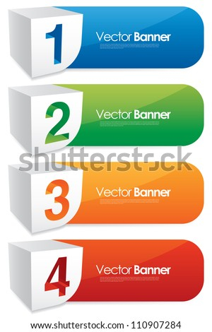 vector numbered banners - stock vector