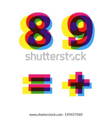 Vector numbers - stock vector