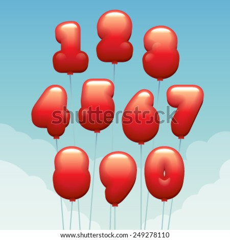 Vector numbers made of flying balloons - stock vector