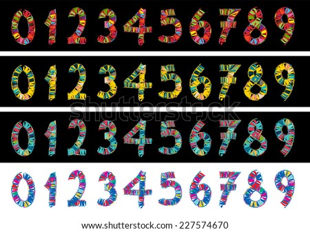 Vector Numbers Set - stock vector