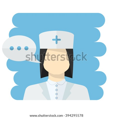 Vector Nurse vector.Vector medical worker icon female Nurse avatar in uniform ,in flat style with a color speech bubble conceptual health care.Nurse icon flat style isolated.Medical worker - stock vector
