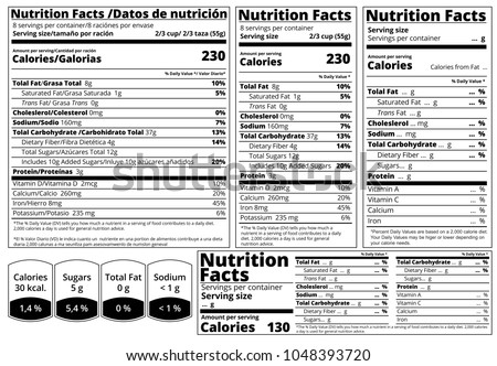 Carbohydrate protein and fat stock images royalty free for Nutrition facts table template