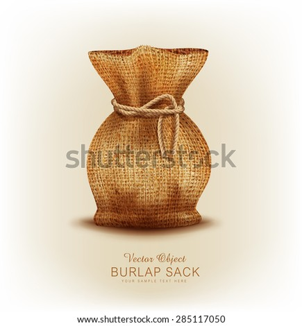Vector object - burlap bag tied  a rope - stock vector