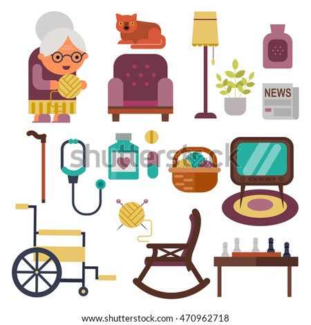Vector objects for pensioners, old peoples life set. Flat granny icons.