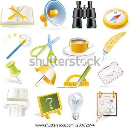 Vector objects icons set. Part 5 - stock vector
