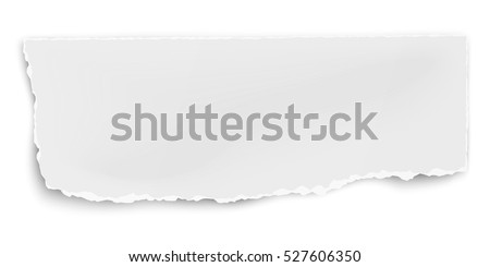 Vector oblong paper fragment with soft shadow isolated on white background.