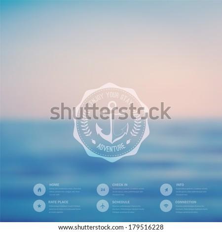 Vector  ocean, blurred landscape, interface template. Corporate website design. Hipster web media backdrop. Round badge label over sea background. Website icons. Editable. Blurred. Unfocused. Ocean - stock vector