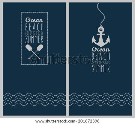 Vector ocean. Hipster web media backdrop. Badge label over sea background. Editable. Unfocused. Ocean - stock vector