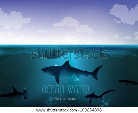 Vector Ocean water with a Yacht and shark - stock vector