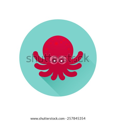 Vector octopus icon. Red octopus on bluish-green background. Trendy flat design style with long shadow. Vector element for web design and infographics . For web and print design - stock vector