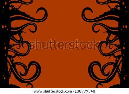 Vector octopus vertical seamless pattern - stock vector