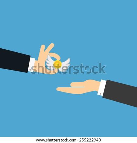vector of a business man giving money. concept of angel funding,loan,bonus,helping etc. - stock vector