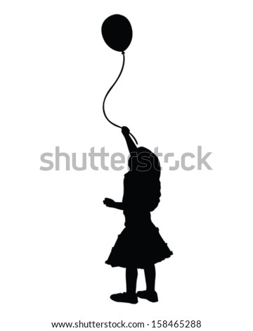 vector of a little girl holding a balloon