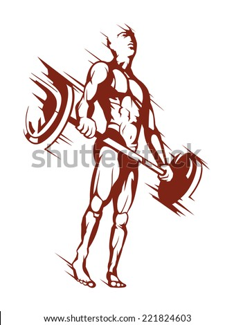 Vector of a nice bodybuilder holding a barbell.