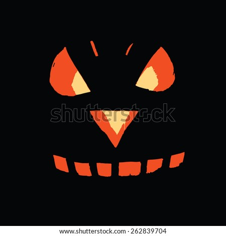 Vector of a pumpkin face on a black backgrond - stock vector