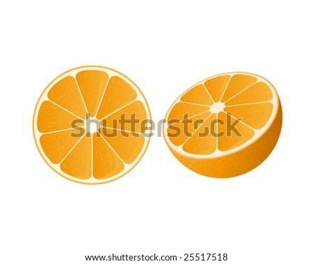 Vector of a slice of orange and a half orange - stock vector
