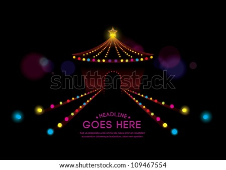 vector of abstract background of circus and neon lights - stock vector