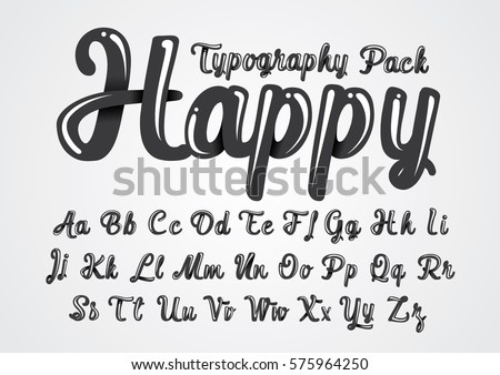 Vector of abstract glossy font and alphabet