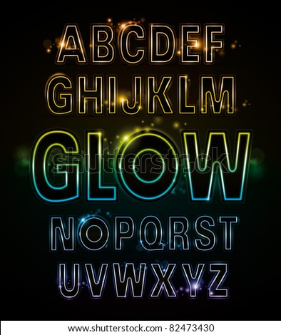 vector of alphabets of glowing neon light - stock vector